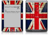Painted Faded and Cracked Union Jack British Flag - Decal Style Skin (fits Amazon Kindle Touch Skin)