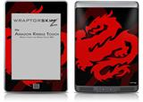 Oriental Dragon Red on Black - Decal Style Skin (fits Amazon Kindle Touch Skin)