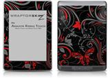 Twisted Garden Gray and Red - Decal Style Skin (fits Amazon Kindle Touch Skin)