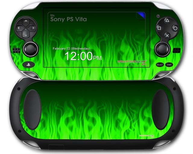 sony ps vita skins fire green wraptorskinz