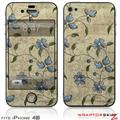 iPhone 4S Skin Flowers and Berries Blue