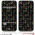 iPhone 4S Skin Kearas Hearts Black