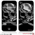 iPhone 4S Skin Chrome Skull on Black