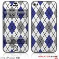 iPhone 4S Skin Argyle Blue and Gray