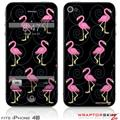 iPhone 4S Skin Flamingos on Black
