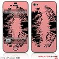 iPhone 4S Skin Big Kiss Black on Pink