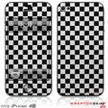 iPhone 4S Skin Checkered Canvas Black and White