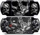 Sony PSP 3000 Decal Style Skin - Chrome Skulls