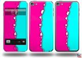 Ripped Colors Hot Pink Neon Teal Decal Style Vinyl Skin - fits Apple iPod Touch 5G (IPOD NOT INCLUDED)