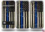Painted Faded Cracked Blue Line Stripe USA American Flag Decal Style Vinyl Skin - fits Apple iPod Touch 5G (IPOD NOT INCLUDED)