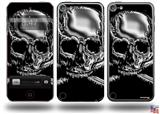 Chrome Skull on Black Decal Style Vinyl Skin - fits Apple iPod Touch 5G (IPOD NOT INCLUDED)