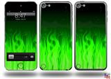 Fire Green Decal Style Vinyl Skin - fits Apple iPod Touch 5G (IPOD NOT INCLUDED)