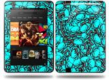 Scattered Skulls Neon Teal Decal Style Skin fits Amazon Kindle Fire HD 8.9 inch