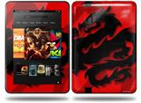 Oriental Dragon Black on Red Decal Style Skin fits Amazon Kindle Fire HD 8.9 inch