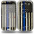 Painted Faded Cracked Blue Line Stripe USA American Flag - Decal Style Skin (fits Samsung Galaxy S III S3)