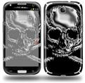 Chrome Skull on Black - Decal Style Skin (fits Samsung Galaxy S III S3)
