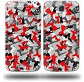 Sexy Girl Silhouette Camo Red - Decal Style Skin (fits Samsung Galaxy S IV S4)