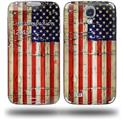 Painted Faded and Cracked USA American Flag - Decal Style Skin (fits Samsung Galaxy S IV S4)