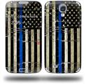 Painted Faded Cracked Blue Line Stripe USA American Flag - Decal Style Skin (fits Samsung Galaxy S IV S4)
