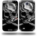 Chrome Skull on Black - Decal Style Skin (fits Samsung Galaxy S IV S4)