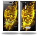 Flaming Fire Skull Yellow - Decal Style Skin (fits Nokia Lumia 928)