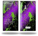 Halftone Splatter Green Purple - Decal Style Skin (fits Nokia Lumia 928)