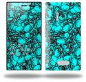 Scattered Skulls Neon Teal - Decal Style Skin (fits Nokia Lumia 928)