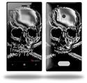 Chrome Skull on Black - Decal Style Skin (fits Nokia Lumia 928)