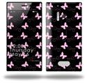 Pastel Butterflies Pink on Black - Decal Style Skin (fits Nokia Lumia 928)