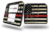 Painted Faded and Cracked Red Line USA American Flag - Decal Style Vinyl Skin fits Nintendo 2DS - 2DS NOT INCLUDED