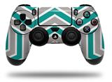 WraptorSkinz Skin compatible with Sony PS4 Dualshock Controller PlayStation 4 Original Slim and Pro Zig Zag Teal and Gray (CONTROLLER NOT INCLUDED)