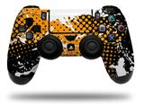 WraptorSkinz Skin compatible with Sony PS4 Dualshock Controller PlayStation 4 Original Slim and Pro Halftone Splatter White Orange (CONTROLLER NOT INCLUDED)