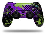Vinyl Skin Wrap for Sony PS4 Dualshock Controller Halftone Splatter Green Purple (CONTROLLER NOT INCLUDED)