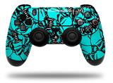 Vinyl Skin Wrap for Sony PS4 Dualshock Controller Scattered Skulls Neon Teal (CONTROLLER NOT INCLUDED)