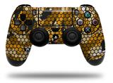 Vinyl Decal Skin Wrap compatible with Sony PlayStation 4 Dualshock Controller HEX Mesh Camo 01 Orange (PS4 CONTROLLER NOT INCLUDED)