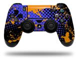 Vinyl Skin Wrap for Sony PS4 Dualshock Controller Halftone Splatter Orange Blue (CONTROLLER NOT INCLUDED)