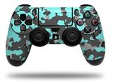 Vinyl Skin Wrap for Sony PS4 Dualshock Controller WraptorCamo Old School Camouflage Camo Neon Teal (CONTROLLER NOT INCLUDED)