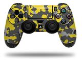 Vinyl Decal Skin Wrap compatible with Sony PlayStation 4 Dualshock Controller WraptorCamo Old School Camouflage Camo Yellow (PS4 CONTROLLER NOT INCLUDED)
