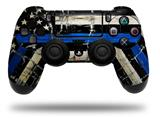 Skin Wrap for Sony PS4 Dualshock Controller Painted Faded Cracked Blue Line Stripe USA American Flag (CONTROLLER NOT INCLUDED)