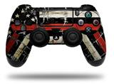 Vinyl Decal Skin Wrap compatible with Sony PlayStation 4 Dualshock Controller Painted Faded and Cracked Red Line USA American Flag (PS4 CONTROLLER NOT INCLUDED)
