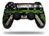 Vinyl Decal Skin Wrap compatible with Sony PlayStation 4 Dualshock Controller Painted Faded and Cracked Green Line USA American Flag (PS4 CONTROLLER NOT INCLUDED)
