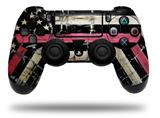 WraptorSkinz Skin compatible with Sony PS4 Dualshock Controller PlayStation 4 Original Slim and Pro Painted Faded and Cracked Pink Line USA American Flag (CONTROLLER NOT INCLUDED)