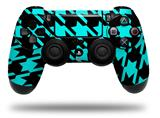 WraptorSkinz Skin compatible with Sony PS4 Dualshock Controller PlayStation 4 Original Slim and Pro Houndstooth Neon Teal on Black (CONTROLLER NOT INCLUDED)