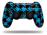 WraptorSkinz Skin compatible with Sony PS4 Dualshock Controller PlayStation 4 Original Slim and Pro Houndstooth Blue Neon on Black (CONTROLLER NOT INCLUDED)