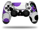 WraptorSkinz Skin compatible with Sony PS4 Dualshock Controller PlayStation 4 Original Slim and Pro Lots of Dots Purple on White (CONTROLLER NOT INCLUDED)