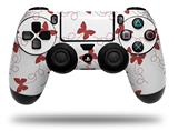 WraptorSkinz Skin compatible with Sony PS4 Dualshock Controller PlayStation 4 Original Slim and Pro Pastel Butterflies Red on White (CONTROLLER NOT INCLUDED)