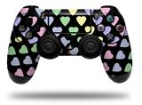 Vinyl Skin Wrap for Sony PS4 Dualshock Controller Pastel Hearts on Black (CONTROLLER NOT INCLUDED)