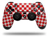 WraptorSkinz Skin compatible with Sony PS4 Dualshock Controller PlayStation 4 Original Slim and Pro Checkered Canvas Red and White (CONTROLLER NOT INCLUDED)