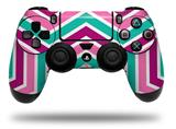 WraptorSkinz Skin compatible with Sony PS4 Dualshock Controller PlayStation 4 Original Slim and Pro Zig Zag Teal Pink Purple (CONTROLLER NOT INCLUDED)