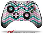 Decal Style Skin for Microsoft XBOX One Wireless Controller Zig Zag Teal Pink and Gray - (CONTROLLER NOT INCLUDED)